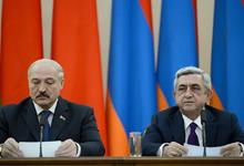 Президенты Серж Саргсян и Александр Лукашенко во время встречи с представителями СМИ выступили с заявлением по итогам переговоров