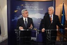 Заявление Президента об итогах встречи с Генеральным секретарем СЕ Торбьерном Ягландом перед представителями СМИ