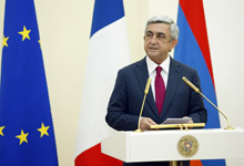 Toast by President Serzh Sargsyan at state supper held in honor of French President Francois Hollande