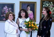 Rita Sargsyan attends exhibition of Lilia and Sveta Karchikyans' paintings