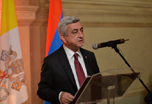 Речь Президента Сержа Саргсяна на ужине, данном в честь Президента РА от имени Чрезвычайного и полномочного посла Республики Армения в Ватикане