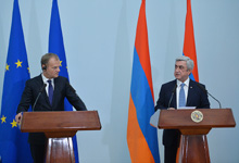Joint press conference of President Serzh Sargsyan and EC President Donald Tusk