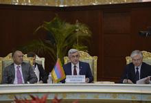 Выступление Президента Сержа Саргсяна по теме «Приоритеты председательства Армении в ОДКБ»