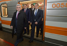 President visited the Yerevan Metro system and later attended the ceremony of opening the Rossia Mall Center