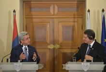 Речь Президента Сержа Саргсяна перед СМИ по завершении встречи с Президентом Кипра Никосом Анастасиадисом
