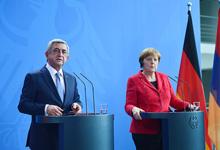 Совместная пресс-конференция Президента Сержа Саргсяна и Ангела Меркель по итогам переговоров