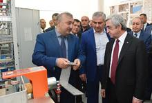 Президент Серж Саргсян присутствовал на открытии производства передового электротехнического оборудования в Армении