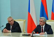 Հայաստանի և Չեխիայի նախագահների համատեղ հայտարարությունը հանդիպման արդյունքների վերաբերյալ` զանգվածային լրատվամիջոցների ներկայացուցիչների առջև