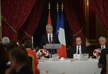Тост Президента Сержа Саргсяна на официальном обеде, данном со стороны Президента Французской Республики Франсуа Олланда