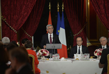 Toast raised by President Serzh Sargsyan at the official reception given by the President of France François Hollande