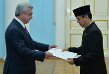 Newly appointed Indonesia Ambassador Yuddi Krisnandi hands credentials to President