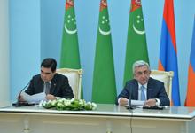 Президент Серж Саргсян и Президент Туркменистана Гурбангулы Бердымухамедов на встрече со СМИ подвели итоги переговоров
