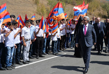 President Serzh Sargsyan attends opening of Vardenis-Martakert highway