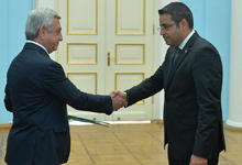 Newly appointed Syrian Ambassador Mohammad Ahmad Haj Ibrahim hands credentials