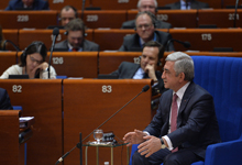 President Serzh Sargsyan answers MPs' questions at PACE plenary session