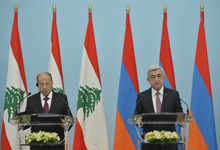 President Serzh Sargsyan, President Michel Aoun of the Republic of Lebanon summarize their talks at a meeting with mass media representatives