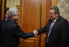 Նախագահն ընդունել է Հունաստանի ազգային պաշտպանության նախարարին