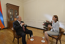 President Armen Sarkissian gave an interview to Rossia 24 TV channel