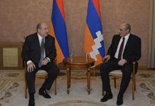 Հայաստանի եւ Արցախի  նախագահները  երկու երկրների փոխգործակցությանն առնչվող հարցեր են քննարկել