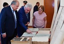 Президент посетил Национальный архив Армении