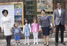 Mrs. Nouneh Sarkissian with grandchildren attended performance of Bald Hedgehog fairy tale
