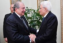 Նախագահ Արմեն Սարգսյանն Իտալիայում հանդիպել է նախագահ Սերջիո Մատարելլայի հետ