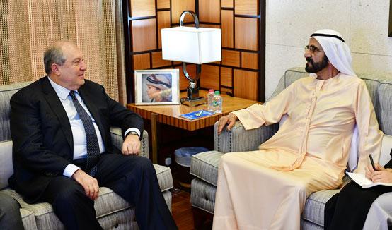 Նախագահը հանդիպել է ԱՄԷ փոխնախագահ, վարչապետ, պաշտպանության նախարար, Դուբայի կառավարիչ Շեյխ Մոհամմեդ բին Ռաշիդ Ալ Մաքթումի հետ