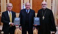 President Sarkissian hosted the Vicar-General of the Mkhitarist Congregation Ftr. Vahan Ohanian and activist from Australia Ara Katibian