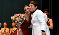 Mrs. Nouneh Sarkissian handed awards to the students of the Yerevan State Ballet College