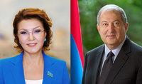 Президента Армена Саркисяна поздравила Председатель Сената Парламента Казахстана Дарига Назарбаева