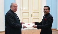Президент Армен Саркисян принял верительные грамоты новоназначенного посла Индии в Армении