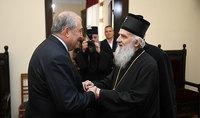 Նախագահ Արմեն Սարգսյանը հանդիպել է Սերբիայի պատրիարք, Նորին Սրբություն Իրինեյի հետ
