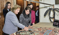 Mrs. Nouneh Sarkissian and Mrs. Vlasia Pavlopoulos were hosted at the Megerian Carpets company