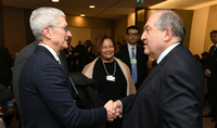 President Armen Sarkissian in Davos met with the Chief Executive Officer of Apple Tim Cook