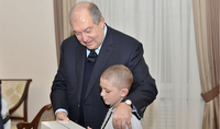 You are not the only one and have to endure, be strong: President Armen Sarkissian hosted the ten-year old Romik Arshakian