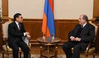 President Armen Sarkissian received the Ambassador of China in Armenia Tian Erlong