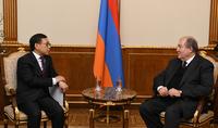 Президент Республики Армен Саркисян принял посла Китая в Армении Тиана Эрлуна