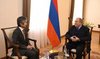Президент Саркисян принял Чрезвычайного и полномочного посла Японии в Армении Джуна Ямаду