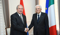 "Sergio Mattarella sent congratulations to Armen Sarkissian: ""I am looking forward to hosting you at the Quirinal Palace during your forthcoming state visit to Italy"""