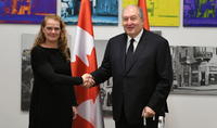 On the occasion of Canada Day President Sarkissian sent a congratulatory message to the Governor General of Canada Julie Payette