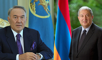 President Armen Sarkissian congratulated first President of Kazakhstan Nursultan Nazarbaev on the occasion of his 80th birth anniversary