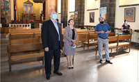 Glory to the Armenian letters and schooling fresco has been restored through the assistance of President Armen Sarkissian: President Sarkissian and Mrs. Sarkissian visited the St. Mesrop Mashtots Church in Oshakan