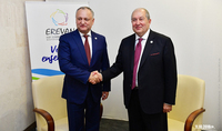 President Armen Sarkissian congratulated Igor Dodon on the occasion of Moldova's Independence Day