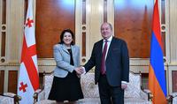 Грузия придаёт большое значение развитию отношений с Арменией – Саломе Зурабишвили поздравила Президента Армении Армена Саркисяна