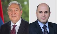 Նախագահ Արմեն Սարգսյանին Ամանորի և Սուրբ Ծննդի տոների առթիվ շնորհավորել է ՌԴ վարչապետ Միշուստինը
