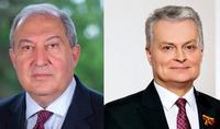 Le Président Armen Sarkissian a félicité le Président de la Lituanie à l'occasion du Jour de l'Indépendance en Lituanie