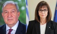 Le Président de la République Armen Sarkissian a félicité la Présidente de la Grèce à l'occasion de la fête nationale grec, le 200ème anniversaire de la libération du joug de l'Empire ottoman