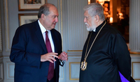President Sarkissian congratulated Catholicos of the Great House of Cilicia Aram I on the Resurrection Day
