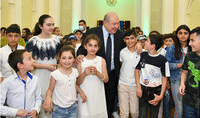 On the Children's Rights Protection Day, children from the families who moved to Armenia from Syunik, Tavush, and Gegharkunik border communities, as well as from Chalet Gyumri, and Hadrut and Kashatagh regions of Artsakh, were hosted at the President's Residence.