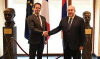 On the National Day of France, President Armen Sarkissian visited the French Embassy in Armenia